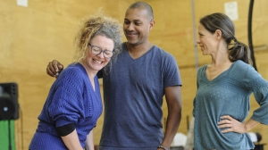 Kate Atkinson, Bert LaBonté and director Clare Watson in rehearsals