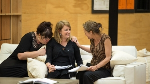 Katrina Milosevic, Susan Prior and Nadine Garner in rehearsals