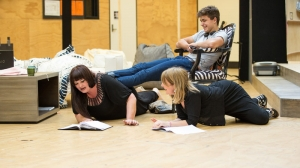 Katrina Milicia, Joe Klocek and Susan Prior in rehearsals