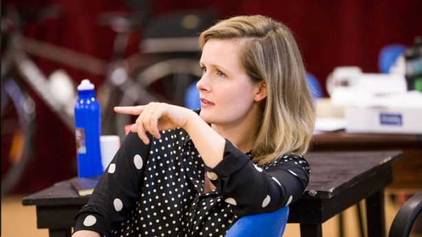 Sarah Giles in rehearsal for Straight White Men