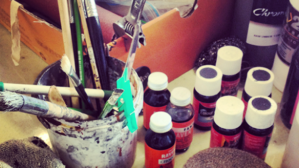 Some of our Art Finisher Josie's many tools of the trade.