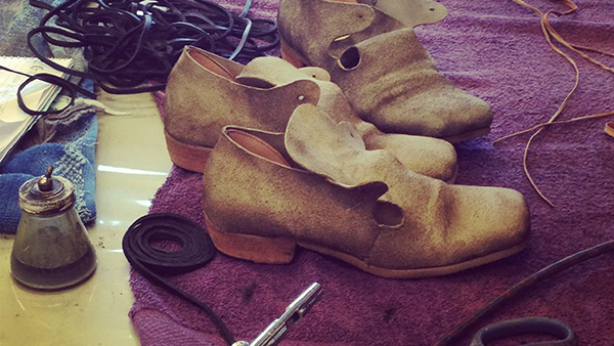 Nearly finished: the shoes await approval from The Crucible's Costume Designer Dale Ferguson.