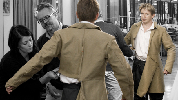 David Wenham being fitted for his costume for The Crucible by Cutter, Rebecca Cassin and Costume Designer, Dale Ferguson.