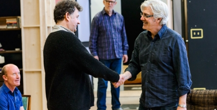 Francis Greenslade and Shaun Micallef in rehearsal for The Odd Couple
