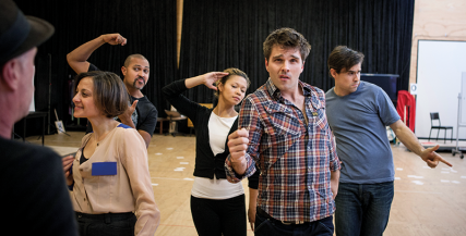 The Rupert cast learn choreography from Andrew Hallsworth in rehearsals