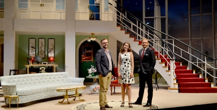 Chris, Sytske, and Patrick on the Born Yesterday Set designed by Dale Ferguson