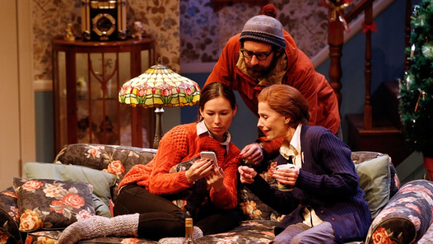 Johnny Carr, Ursula Mills and Helen Morse on stage in John