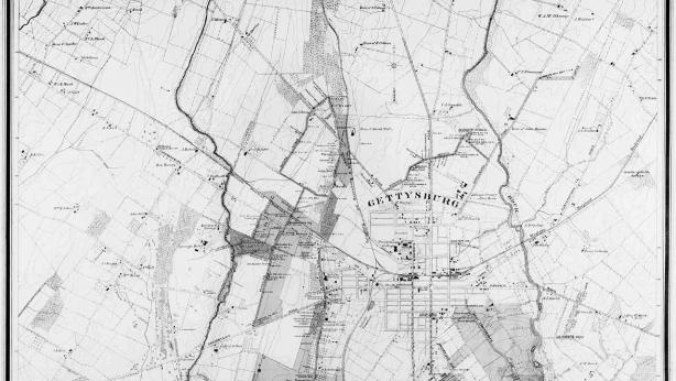Gettysburg Battlefield from original surveys. Palmer 1916.