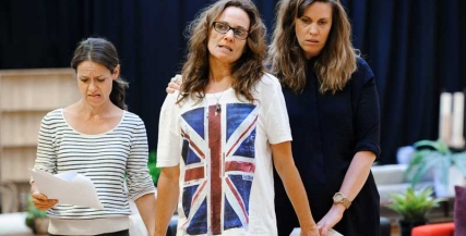 Kate Atkinson, Catherine McClements and Katherine Tonkin in rehearsals