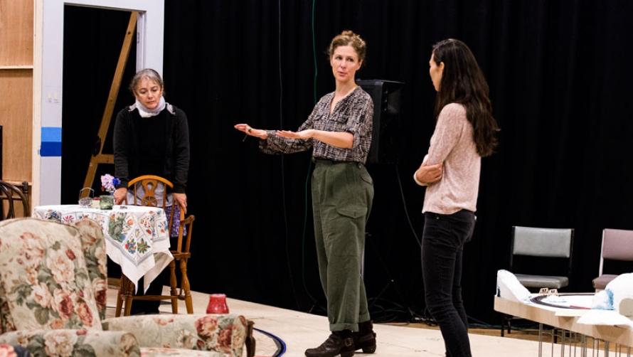Sarah Goodes in rehearsal for JOHN