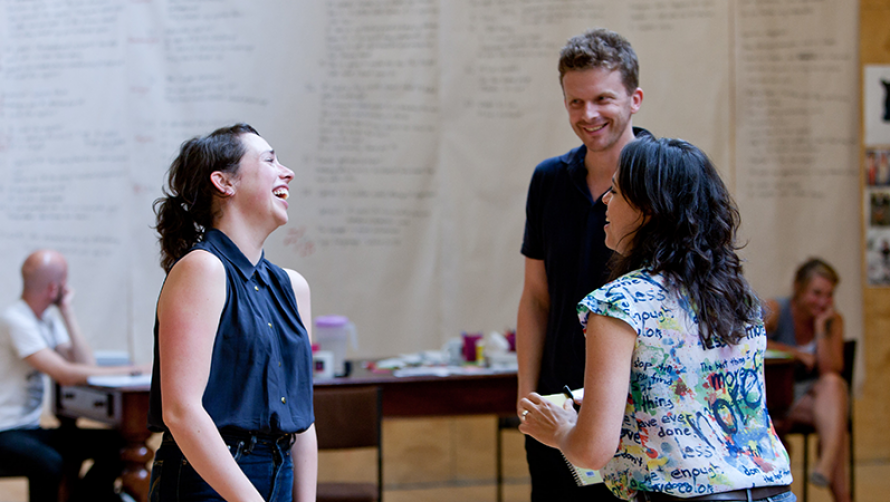 Director Leticia Cáceres (right) in rehearsals with Alison Bell (left) and Leon Ford (centre).