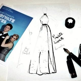 A work in progress - Megan's illustration of Amanda's gown