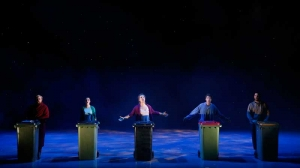Brent Hill, Gillian Cosgriff, Virginia Gay, Keegan Joyce and Ben Mingay on stage in Vivid White