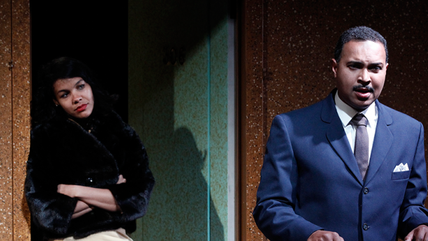 Zahra Newman and Bert LaBonté on stage in 'The Mountaintop'. Photo: Jeff Busby