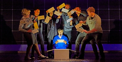 Joshua Jenkins (Christopher Boone) and company Curious Incident International Tour. Photo by BrinkhoffMögenburg