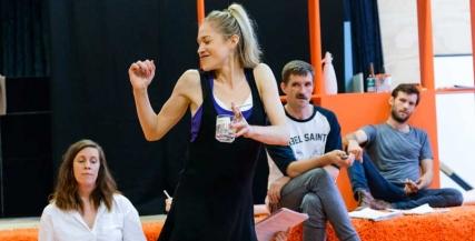 Katherine Tonkin, Pip Edwards, Benjamin Rigby and Zoe Boesen in rehearsal