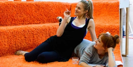 Pip Edwards and Zoe Boesen in rehearsal