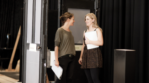Nadine Garner and Lucy Durack in rehearsal
