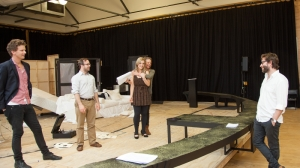 Leon Ford, John Leary, Lucy Durack, Nadine Garner and director Sam Strong in rehearsal.