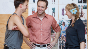 Tom Conroy, Angus Grant and Sophie Ross in rehearsal