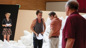 Sophie Ross, Tom Conroy, Angus Grant and Tony Rickards in rehearsal