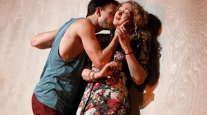 Tom Conroy and Sophie Ross on stage in MTC's production of Cock by Mike Barlett