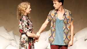 Sophie Ross and Tom Conroy on stage in MTC's production of Cock by Mike Barlett