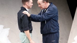 Angus Grant and Tony Rickards on stage in MTC's production of Cock by Mike Barlett