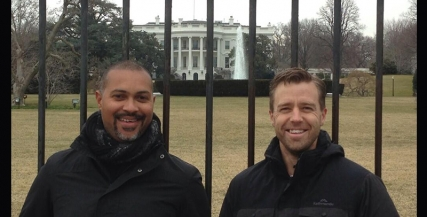 Bert LaBonté and Simon Gleeson outside the White House, Washington DC