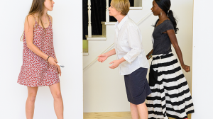 Brenna Harding, Jane Turner and Tariro Mavondo in rehearsals