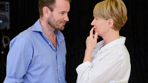John Lloyd Fillingham and Jane Turner in rehearsal