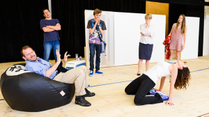 John Lloyd Fillingham, David Tredinnick, Laurence Boxhall, Jane Turner, Marina Prior, and Brenna Harding in rehearsal