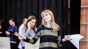 Jane Harber and Kat Stewart in rehearsals for The Speechmaker at MTC