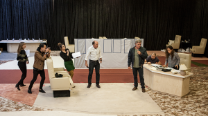 The cast in rehearsals for The Speechmaker at MTC