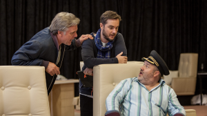 Erik Thomson, Toby Truslove and David James in rehearsals for The Speechmaker at MTC