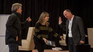 Erik Thomson, Kat Stewart and Nicholas Bell in rehearsals for The Speechmaker at MTC