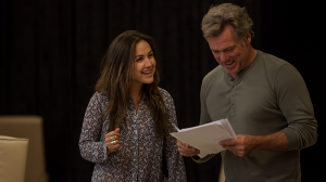 Jane Harber and Erik Thomson in rehearsals for The Speechmaker at MTC