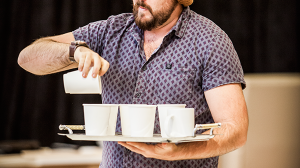Brent Hill in rehearsals for The Speechmaker at MTC