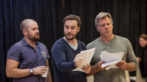 Brent Hill, Toby Truslove and Erik Thomson in rehearsals for The Speechmaker at MTC