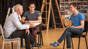 Colin Friels, Directorial Secondment Daniel Lammin, and Luke Mullins in rehearsals