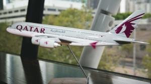 Qatar Airways Plane in the Qatar Airways MTC Lounge