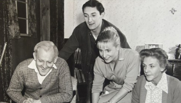 Wynn Roberts (Alf), Dennis Miller (Hughie), Elaine Cusick (Jan), and Bunney Brooke (Dot) in MTC's 1961 production of The One Day of the Year