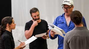 Kate Atkinson, Brett Cousins, William McInnes and Belinda McClory in rehearsal