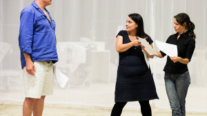 William McInnes, Director Naomi Edwards, and Kate Atkinson in rehearsal