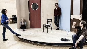 Director Leticia Caceres, Susie Porter, Eugene Gilfedder and Steve Mouzakis in rehearsal