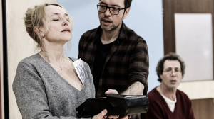 Susie Porter, Steve Mouzakis and Eugene Gilfedder in rehearsal