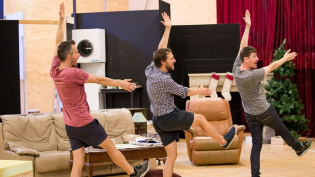 Luke Ryan, Gareth Reeves and Hamish Michael in rehearsals