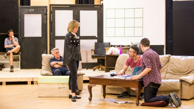 Sarah Giles with Gareth Reeves, John Gaden, Hamish Michael and Luke Ryan in rehearsals