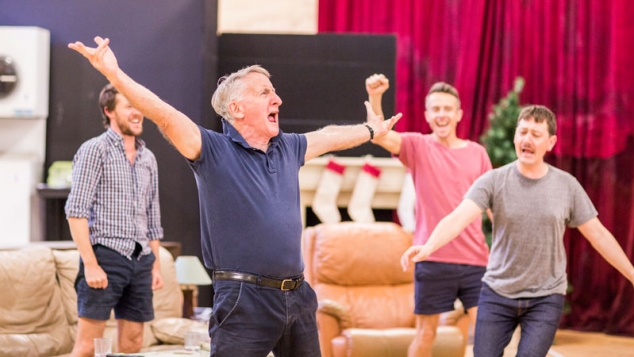 John Gaden, Gareth Reeves, Hamish Michael and Luke Ryan in rehearsals