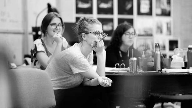 Sarah Goodes in rehearsals